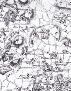 Swangleys Farm Historical Map